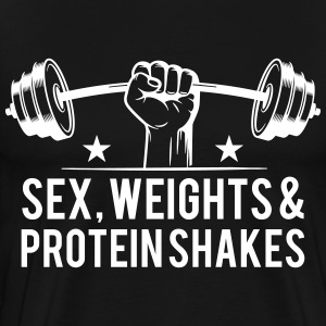 sex weights and protein shakes T-Shirts - Men's Premium T-Shirt