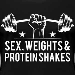 sex weights and protein shakes T-Shirts - Women's Premium T-Shirt