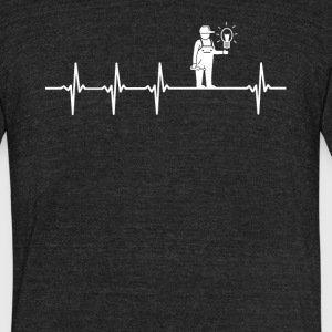 Electrician Job Heartbeat Love - Unisex Tri-Blend T-Shirt by American Apparel