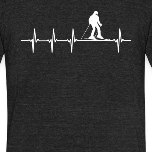 Skiing Sport Heartbeat Love - Unisex Tri-Blend T-Shirt by American Apparel