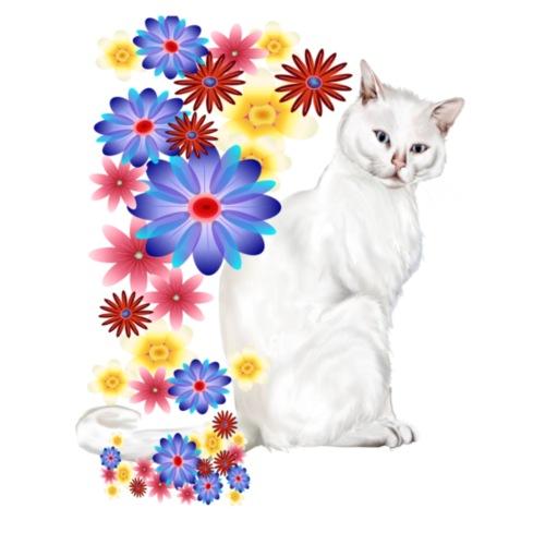 White Garden Kitty