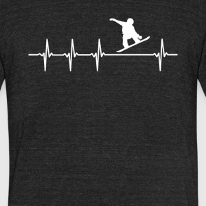 Snowboarding Sport Heartbeat Love - Unisex Tri-Blend T-Shirt by American Apparel