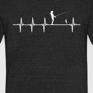 Female Fishing Sport Heartbeat Love - Unisex Tri-Blend T-Shirt by American Apparel