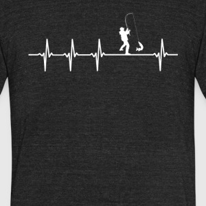 Male Fishing Sport Heartbeat Love - Unisex Tri-Blend T-Shirt by American Apparel