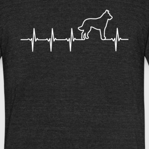 Belgian Malinois Dog Heartbeat Love - Unisex Tri-Blend T-Shirt by American Apparel