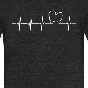 Pomeranian Dog Heartbeat Love - Unisex Tri-Blend T-Shirt by American Apparel