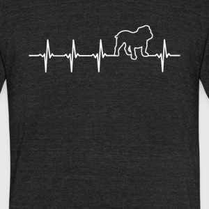 Bulldog Heartbeat Love - Unisex Tri-Blend T-Shirt by American Apparel