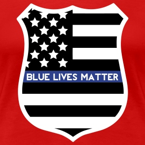 Blue Lives Matter - Flag Shield T-Shirts - Women's Premium T-Shirt