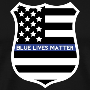 Blue Lives Matter - Flag Shield T-Shirts - Men's Premium T-Shirt