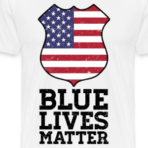 Blue Lives Matter - Color Flag Shield T-Shirts - Men's Premium T-Shirt