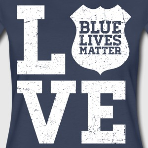 Blue Lives Matter - Love (White) T-Shirts - Women's Premium T-Shirt