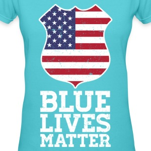 Blue Lives Matter - Color Flag Shield (White) T-Shirts - Women's V-Neck T-Shirt