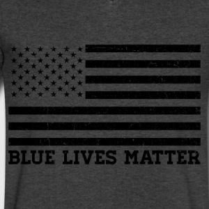 Blue Lives Matter - Flag (Black) T-Shirts - Men's V-Neck T-Shirt by Canvas