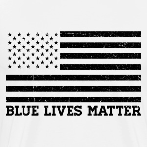 Blue Lives Matter - Flag (Black) T-Shirts - Men's Premium T-Shirt