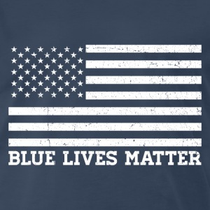 Blue Lives Matter - Flag (White) T-Shirts - Men's Premium T-Shirt
