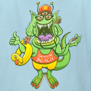 Monster raising thumb to get a ride to the beach Kids' Shirts - Kids' T-Shirt