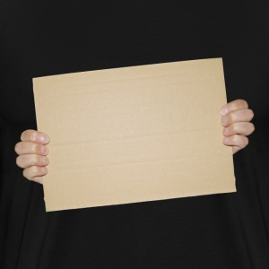 Hands Holding Blank Cardboard Sign - Men's Premium T-Shirt