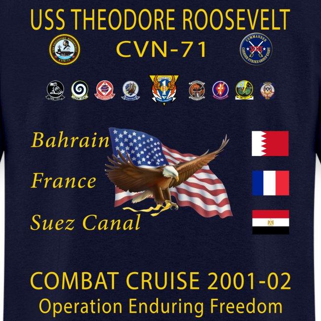 USS THEODORE ROOSEVELT CVN-71 COMBAT CRUISE 2001-02 CRUISE SHIRT
