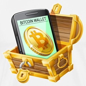 Bitcoin Wallet in Treasure Chest - Men's Premium T-Shirt