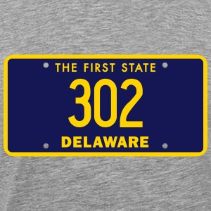 Delaware 302 Area Code License Plate T-Shirts - Men's Premium T-Shirt