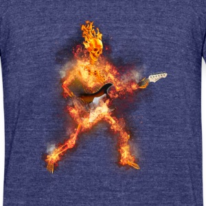 Daz Fire Skeleton Guitarist T-Shirts - Unisex Tri-Blend T-Shirt by American Apparel