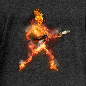 Daz Fire Skeleton Guitarist Long Sleeve Shirts - Women's Wideneck Sweatshirt