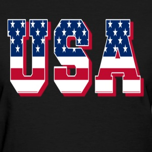 USA FLAG BLACK TEE T-Shirts - Women's T-Shirt