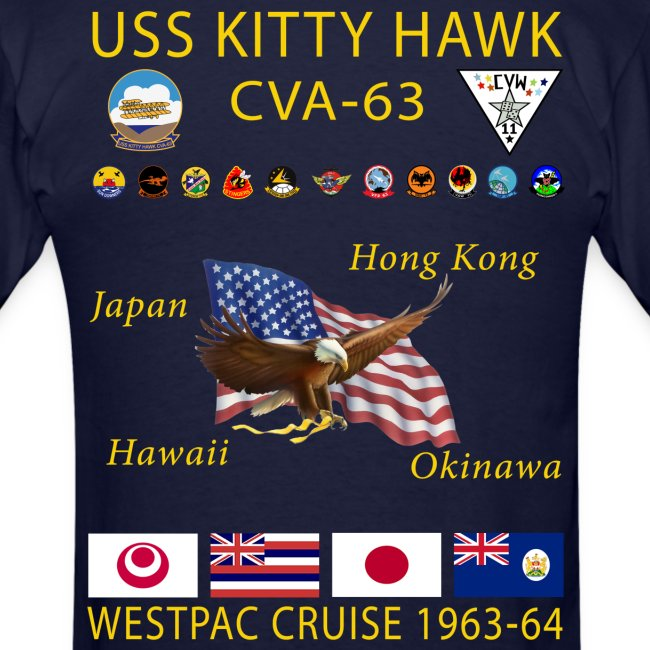 USS KITTY HAWK CVA-63 WESTPAC CRUISE 1963-64 CRUISE SHIRT