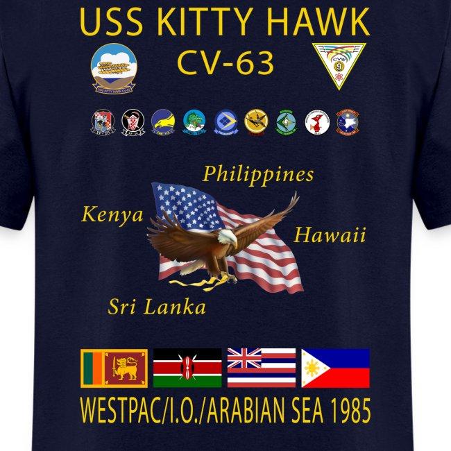 USS KITTY HAWK CV-63 WESTPAC/I.O./ ARABIAN SEA CRUISE 1985 CRUISE SHIRT