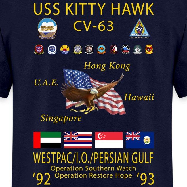 USS KITTY HAWK CV-63 WESTPAC CRUISE 1992-93 CRUISE SHIRT