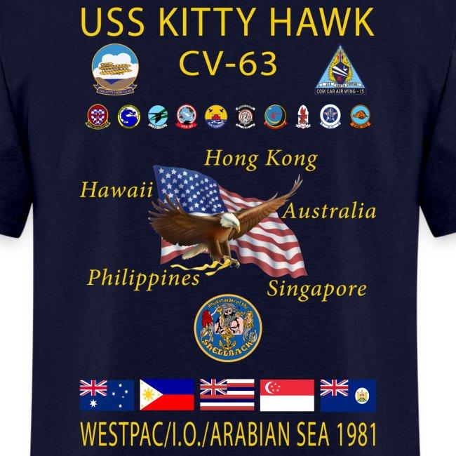 USS KITTY HAWK CV-63 WESTPAC/I.O./ ARABIAN SEA CRUISE 1981 CRUISE SHIRT