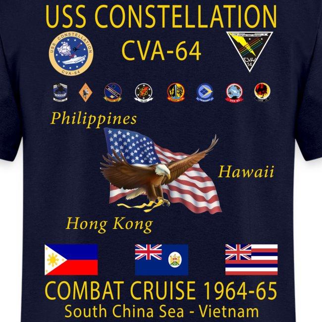 USS CONSTELLATION CVA-64 COMBAT CRUISE 1964-65 CRUISE SHIRT