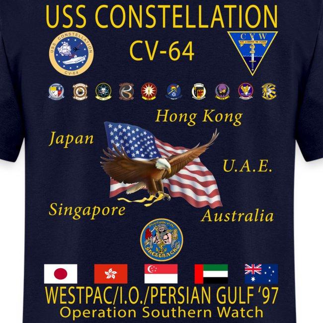 USS CONSTELLATION CV-64 WESTPAC/I.O./PERSIAN GULF CRUISE 1997 CRUISE SHIRT