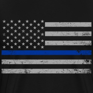 US Flag Thin Blue Lines T-Shirts - Men's Premium T-Shirt