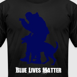 Blue Lives Matter K9 - Men's T-Shirt American Appa - Men's T-Shirt by American Apparel