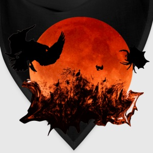 Halloween Blood Moon Ghostly Birds Black Bandana - Bandana