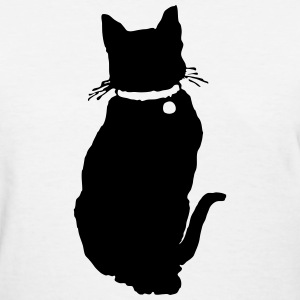 Black Cat Sitting Silhouette T-Shirts - Women's T-Shirt