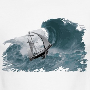 Sailing-boat in Storm - Men's Ringer T-Shirt