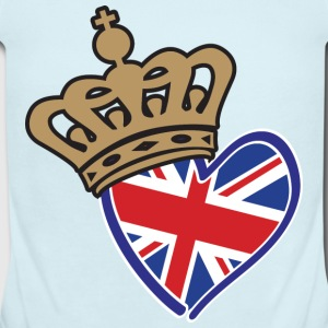 Royal Crown Union Jack Heart - Short Sleeve Baby Bodysuit