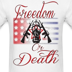 Freedom Or Death American flag gas mask design - Men's T-Shirt