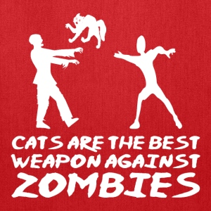 CATS ARE THE BEST WEAPON AGAINST ZOMBIES - Tote Bag