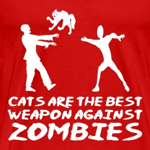 CATS ARE THE BEST WEAPON AGAINST ZOMBIES - Men's Premium T-Shirt