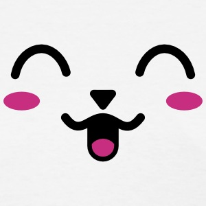 Happy Blush Animal Anime Face T-Shirts - Women's T-Shirt
