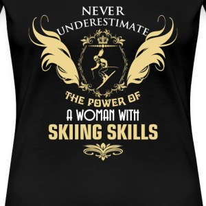 Skiing - The power of a woman with skiing skills - Women's Premium T-Shirt