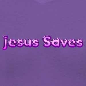Jesus Saves purple T-Shirts - Women's V-Neck T-Shirt