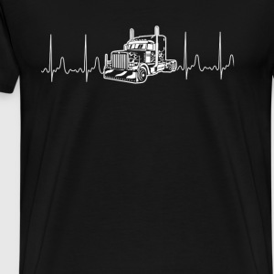 Truck Driver Awesome heartbeat t-shirt for trucker - Men's Premium T-Shirt