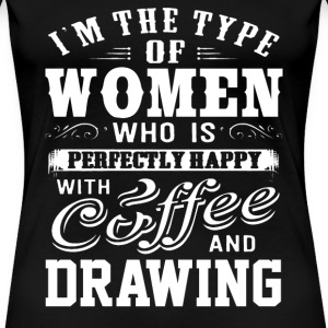 Drawing - This women is perfectly happy with draw - Women's Premium T-Shirt