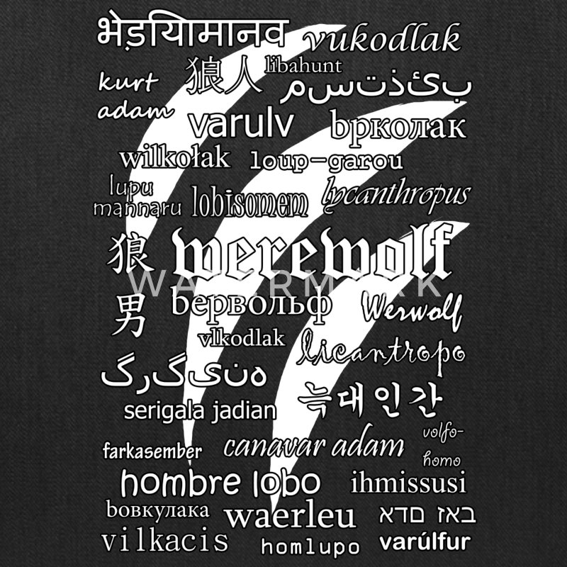 Werewolf in 33 Languages (Black Version) Bags & backpacks - Tote Bag