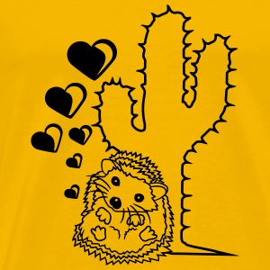 love hearts love couple prickly cactus cuddling co T-Shirts - Men's Premium T-Shirt