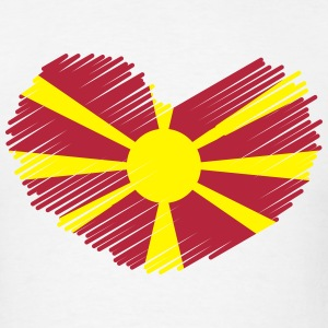 Macedonia Love Heart Flag Drawing T-Shirts - Men's T-Shirt